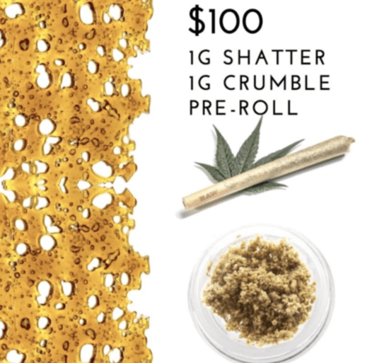 $100 : 1g Crumble + 1g Shatter + 1 pre-roll!! | CANNABEAR |Carts
